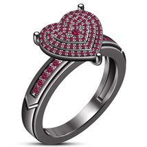 Engagement Wedding Ring Round Cut Pink Sapphire 10k Black Gold Finish 92... - $108.09 CAD