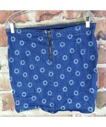 Divided Denim Floral A-Line Skirt Womens Size 12 Blue Zippered - $13.85