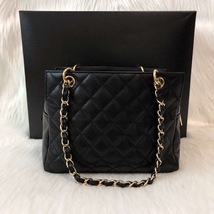 AUTHENTIC CHANEL QUILTED CAVIAR PST PETITE SHOPPING TOTE BAG BLACK SHW RECEIPT image 2
