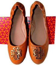Tory Burch Melinda Ballerina Flats Royal Tan Leather Gold Logo Ballet Sh... - $158.00