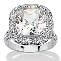 PalmBeach Jewelry 3.80 TCW Cushion Cut CZ Double Halo Ring in Platinum P... - $18.69