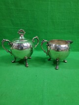 Vintage Two Piece Silverplate Creamer & Sugar ~ Footed ~ Lid on Sugar - $22.72