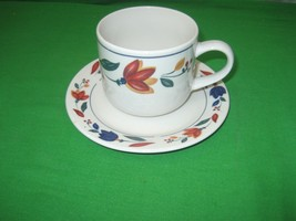 Porcelain China White Smooth Blue & Red Leaf Coffee Cup & Saucer Plate Mug - $1.24