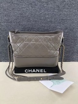 AUTHENTIC CHANEL Gray Quilted Calfskin Medium Gabrielle Hobo Bag  image 1