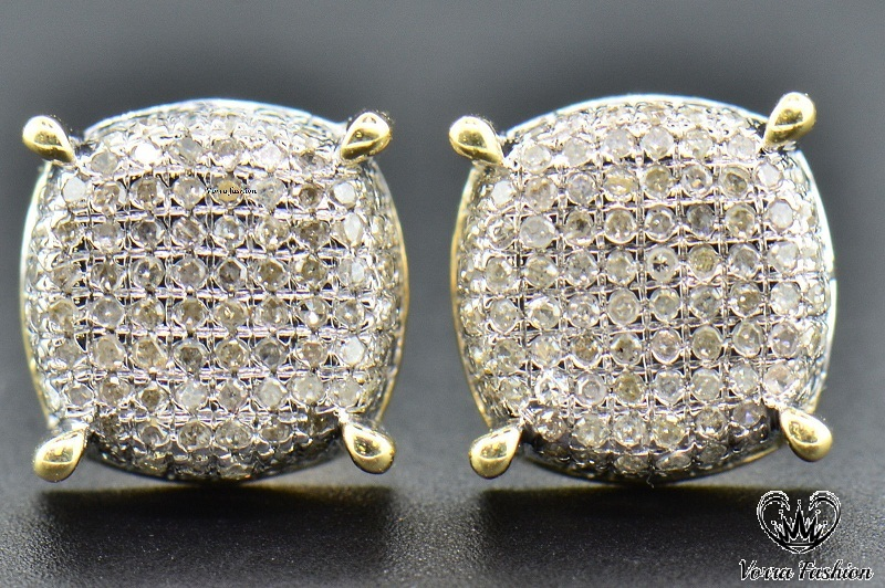 Primary image for Womens 14K Yellow Gold 1.50 CT Round Diamond Micro Pave Stud Earrings