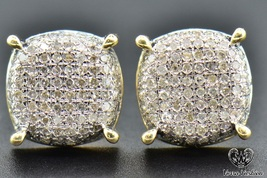 Womens 14K Yellow Gold 1.50 CT Round Diamond Micro Pave Stud Earrings - $73.09