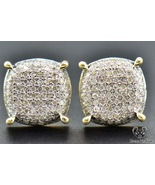 Womens 14K Yellow Gold 1.50 CT Round Diamond Micro Pave Stud Earrings - £54.83 GBP