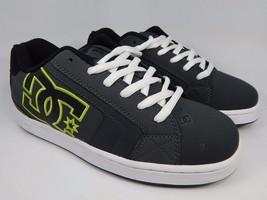 DC Net Leather Men's Skate Shoes Size US 8 M (D) EU 40.5 Gray Black White Lace
