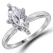 MARQUISE CUT SOLITAIRE DIAMOND ENGAGEMENT RING 2 CARATS WOMENS 14K WHITE... - £6,044.05 GBP