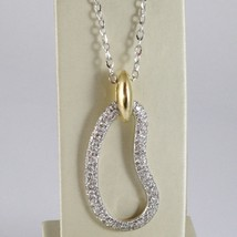 18K WHITE GOLD NECKLACE, BIG DROP PENDANT, 1.5 CARATS DIAMONDS, OVAL ROLO CHAIN image 1