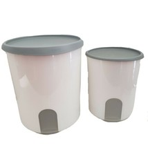 Pair of Vintage Tupperware One Touch Reminder Canister white 24188-4 & 24200-2 - $20.39