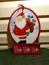 """Christmas Sign Santa Claus Ho Ho Ho New with Tags 9"""" X 14"""" Wall Decor/De... - $5.93"""