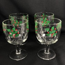 Set of 4 Indiana Glass Holly Berry Water Wine Goblets Stem Christmas Hol... - $24.74