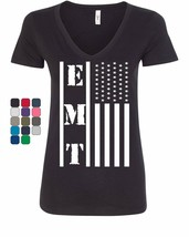 EMT Stars and Stripes Women's V-Neck T-Shirt First Responders Paramedic EMS - $16.74+