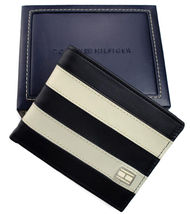Tommy Hilfiger Men's Leather Wallet Passcase Billfold Navy Bone 31TL22X040 image 8