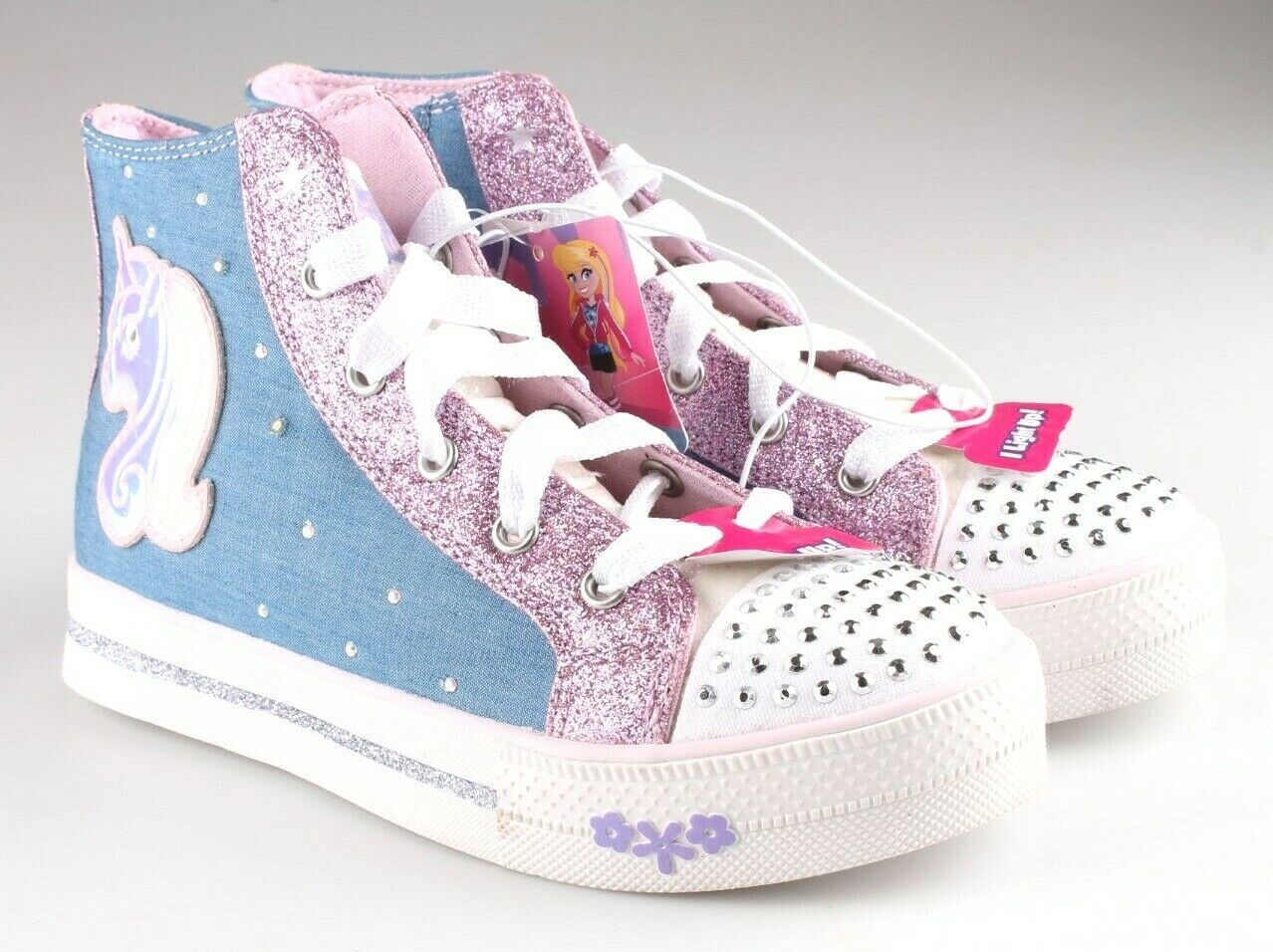 S Sport by Skechers Big Girls Pink Unicorn Raelynn Light-Up HiTop Shoes Sneakers