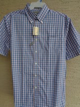 NWT MENS SADDLEBRED S/S COTTON BLEND BUTTON FRONT CASUAL SHIRT PLAID XL ... - $13.09