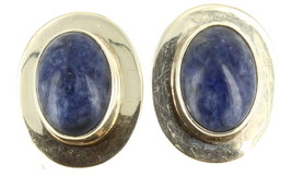 "Vintage Sterling Sodalite Stone Oval Post Pierced Earrings 1"" Long Bezel... - $51.29"