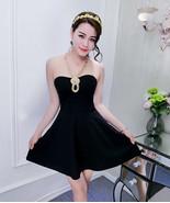 PF246 sexy sweet neck halter blouse w swing dress,free size black - $18.80