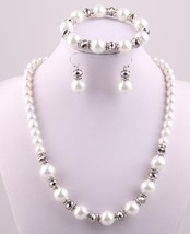 Free shipping 12mm white Pearl and 8mm silver crystal glass beads spacers neckla - $15.34