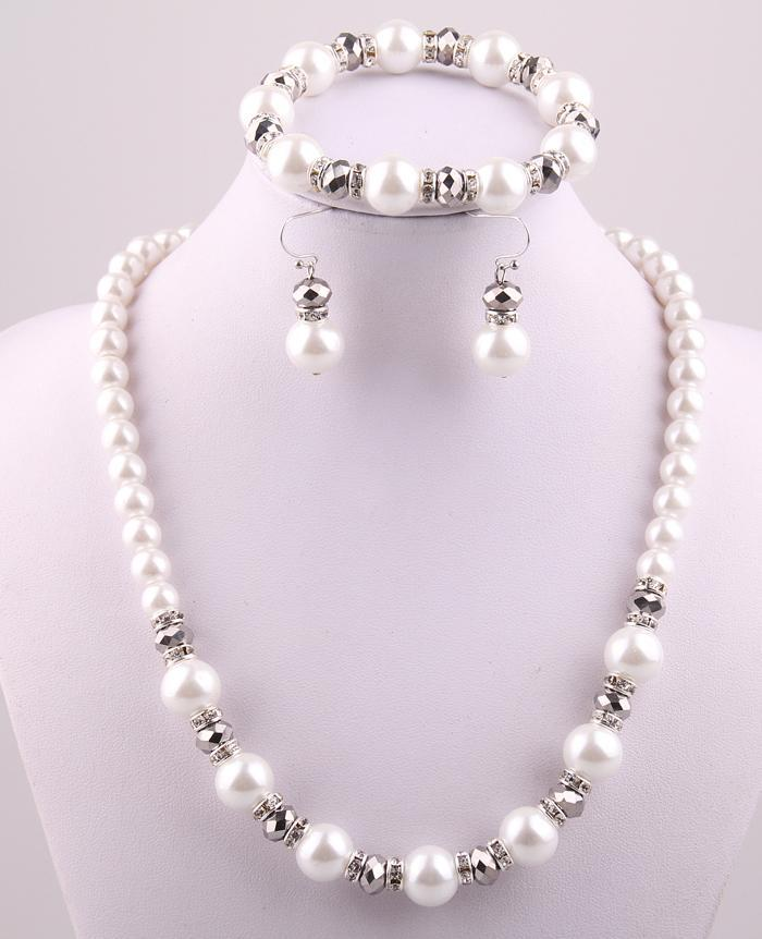 Primary image for Free shipping 12mm white Pearl and 8mm silver crystal glass beads spacers neckla