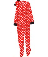Disney Minnie Mouse NWT Women's Hooded Footed Dot Pajamas 1 Piece - $41.79