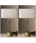 "TWO 33"" TEXTURED GLASS GOLD ACCENTS TABLE LAMPS SILKEN SHADE MODERN LIGHT - $489.00"