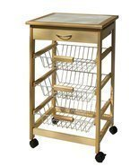 Organize It All Mobile Kitchen Utility Cart with Wire Tan, Silver, White - $951,66 MXN