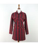 Women's Current/Elliot Red Tartan Denim Mini Dress sz S - $95.79