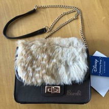 Disney Bambi Shoulder Bag Gold Chain Fur Pochette Bag Tea - $72.27