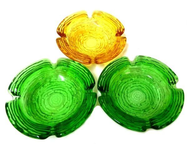 Soreno Glass Ashtray Set Pressed Bark Anchor Hocking Avocado Green Gold Amber - $29.07