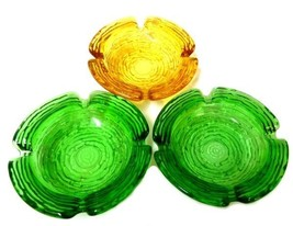Soreno Glass Ashtray Set Pressed Bark Anchor Hocking Avocado Green Gold ... - $29.37