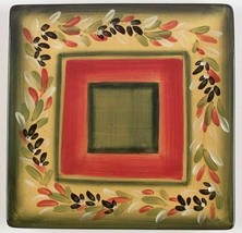 La Province by Tabletops Unlimited Square Salad Plate Red Yellow Green Leaves - $20.60