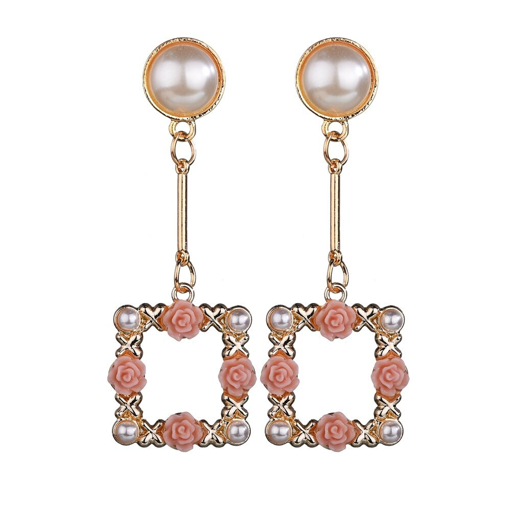 BAHYHAQ -  Imitation Pearl Stud Fashion Rose Flowers Hanging Korean Earring