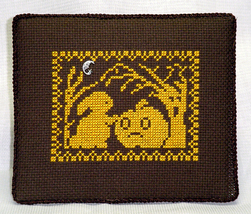 Fall Silhouette Bunny Meets Scared Pumpkin with charm cross stitch Handblessings - $5.00