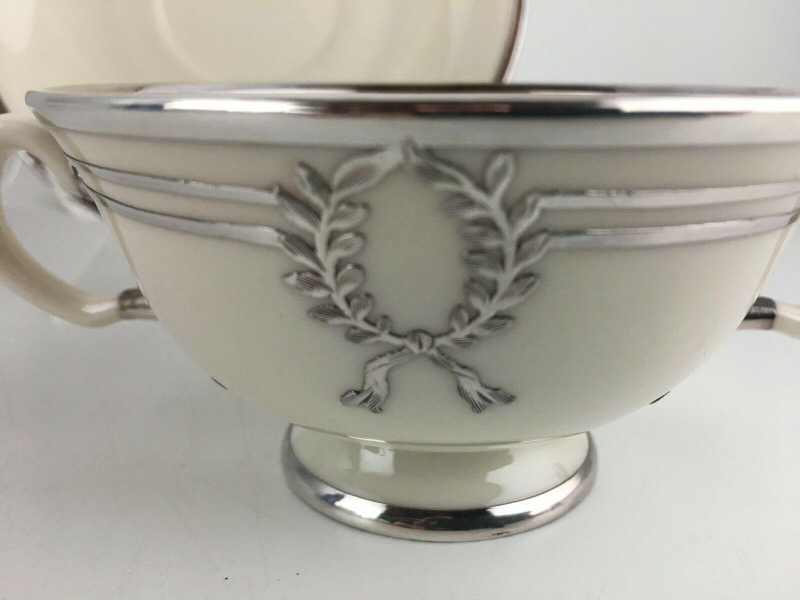 Lenox Belleek L103 Bouillon bowl & saucer / Silver overlay image 2