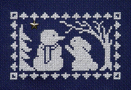 Winter Silhouette Bunny Meets Snowman with charm cross stitch chart Handblessing - $5.00