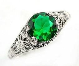 1CT Emerald Quartz 925 Solid Sterling Silver Vintage Art Ring Jewelry Sz... - $27.71