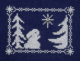 Winter Silhouette Bunny Sees Christmas Star with charm cross stitch Handblessing - $5.00