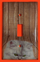 Pretty white cat wood Light Switch Outlet + more wall Cover Plate Home Decor image 1