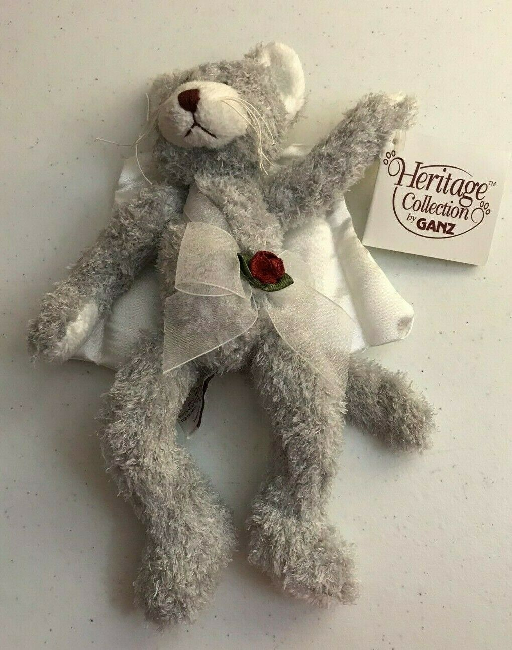 Scarce GANZ Heritage Collection PURRFECT CUPID Kitten Silver Gray Cat Plush SOFT image 3