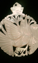 Vintage 60s carved dove mother of pearl pendant image 4