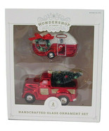 2ct Handcrafted Glass Christmas Ornament Set Red Truck and Trailer - Won... - $14.95