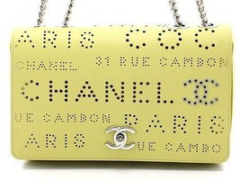 Chanel Chain Shoulder Flap Bag Calfskin Punching AS0299 Yellow Auth Mint... - $4,682.75