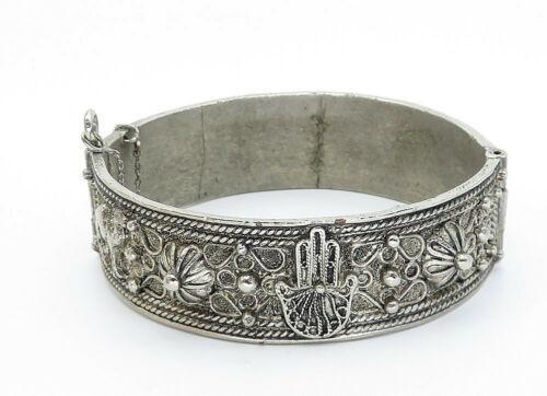 925 Sterling Silver - Vintage Hamsa Floral Twist Heavy Bangle Bracelet - B5801