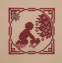 Christmas Silhouette Boy Playing Truck with charm cross stitch Handblessings - $5.00