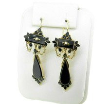 14k Yellow Gold Large Onyx and Seed Pearl Earrings (#J4710) - $725.00