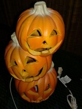 "TRENDMASTERS 3 STACKED PUMPKINS LIGHTED FOAM LATEX Halloween 16""  1995 - £22.53 GBP"