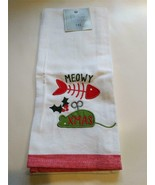 """MEOWY XMAS CAT THEMED EMBELLISHED EMBROIDERED KITCHEN TEA TOWEL 18"""" X 28... - $12.86"""