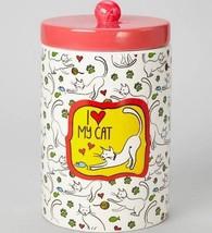 "I Love My Cat Treat Jar Red Top Yarn Ceramic New 8"" High Paw Prints Hear... - $24.74"